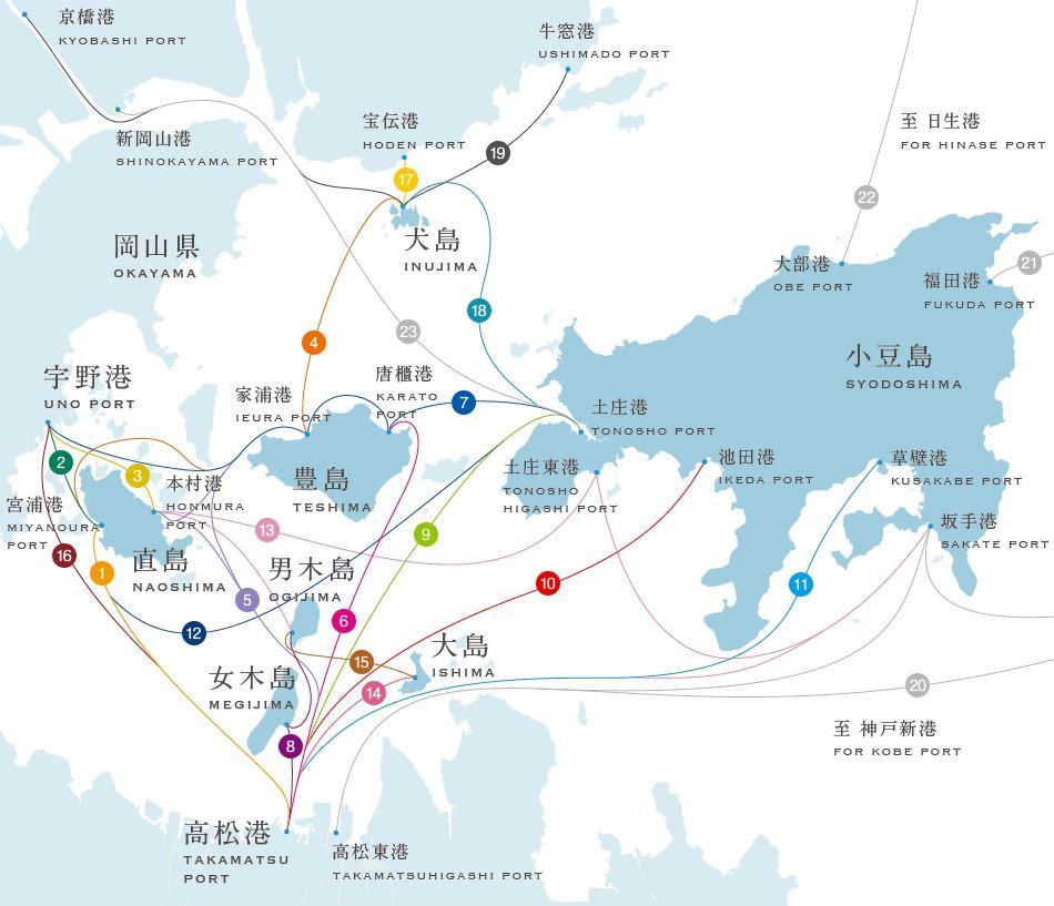瀨戶內國際藝術祭各島交通圖