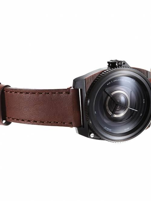 深咖真皮錶帶-鏡頭在手復刻典藏版Vintage Lens-優雅膠卷褐
